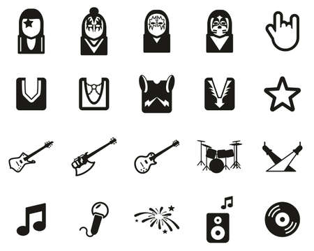 Kiss Band Icons Black & White Set Big Banque d'images - 138782010
