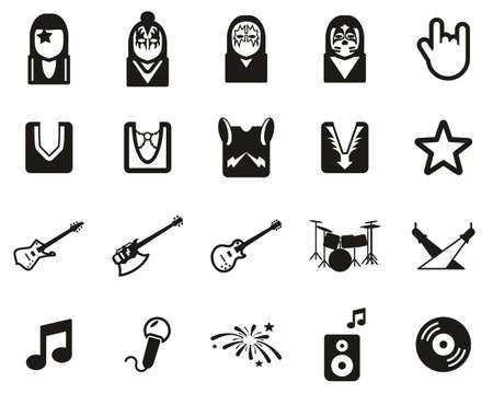 Kussband Icons schwarz-weiß Set groß Vektorgrafik
