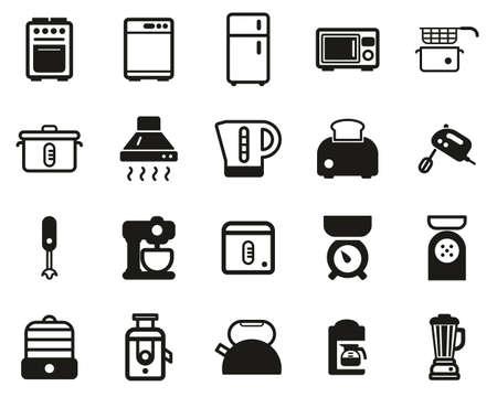 Kitchen Appliances Icons Black & White Set Big