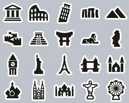 Landmarks Of The World Icons Black & White Sticker Set Big Illustration