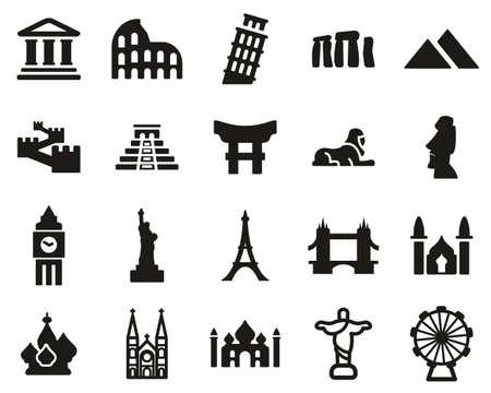 Wahrzeichen der Welt Icons Schwarz-Weiß-Set Big