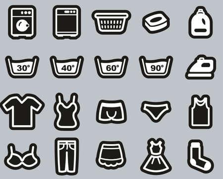 Laundry Or Washing Clothes Icons White On White Sticker Set Big