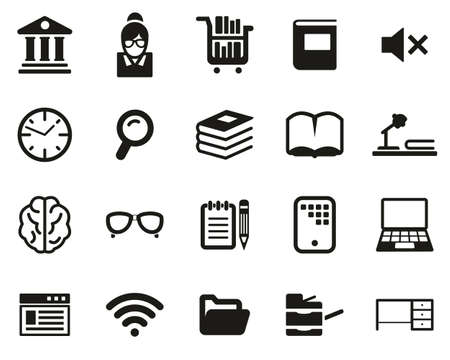 Library Or Study Icons Black & White Set Big 向量圖像