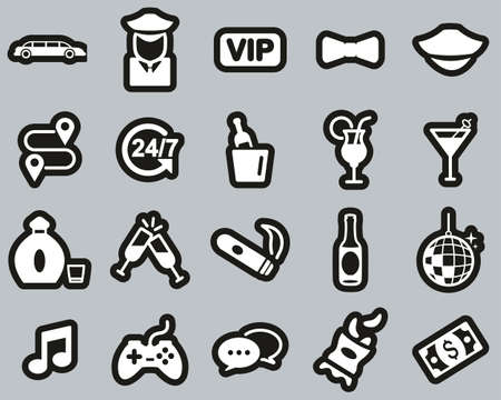 Limousine Or Limousine Service Icons White On Black Sticker Set Big Çizim