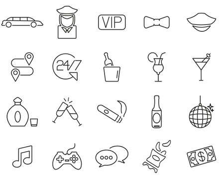 Limousine Or Limousine Service Icons Black & White Thin Line Set Big Çizim