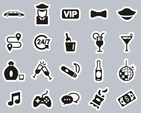Limousine Or Limousine Service Icons Black & White Sticker Set Big