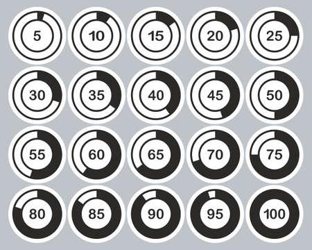 Loading Or Percentage Icons Black & White Sticker Set 01 Big