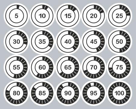 Loading Or Percentage Icons Black & White Sticker Set 02 Big