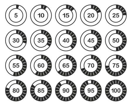 Loading Or Percentage Icons Black & White Set 02 Big