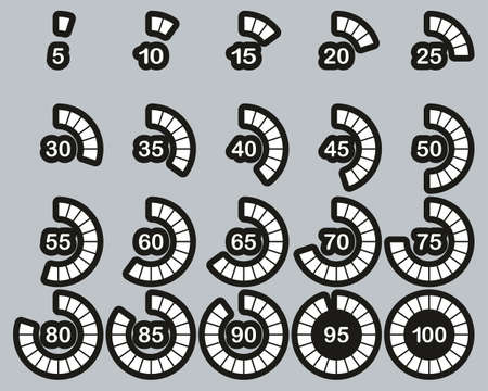 Loading Or Percentage Icons White On Black Sticker Set 03 Big