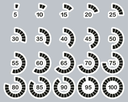 Loading Or Percentage Icons Black & White Sticker Set 03 Big Illustration