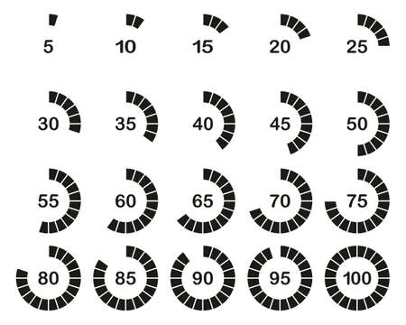Loading Or Percentage Icons Black & White Set 03 Big Illustration