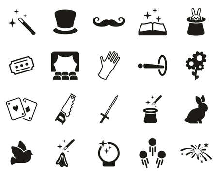 Icone di magia e illusione in bianco e nero set grandi Vettoriali