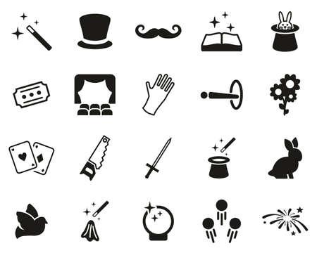 Iconos de magia e ilusión en blanco y negro grandes Ilustración de vector