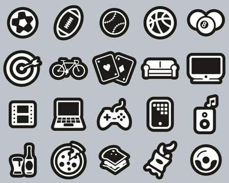 Man´s Favorite Activities Icons White On Black Sticker Line Set Big Illusztráció