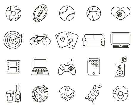 Man´s Favorite Activities Icons Black & White Thin Line Set Big Illusztráció