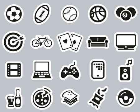 Man´s Favorite Activities Icons Black & White Sticker Line Set Big Illusztráció