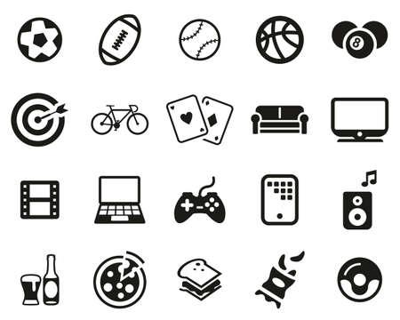 Man´s Favorite Activities Icons Black & White Set Big