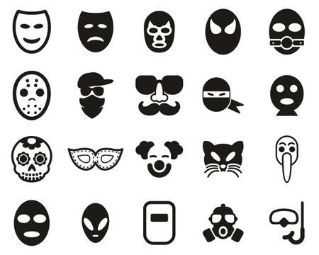 Mask Or Disguise Icons Black & White Set Big