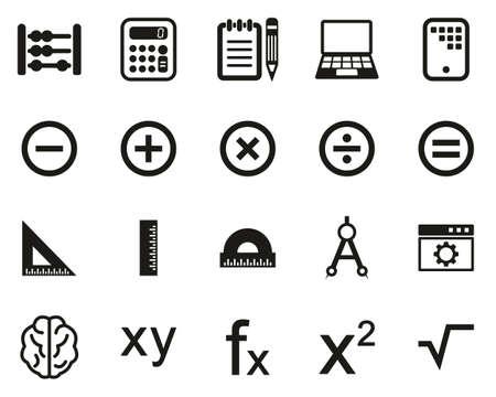 Math ou Math Science Icons Set Noir & Blanc Grand