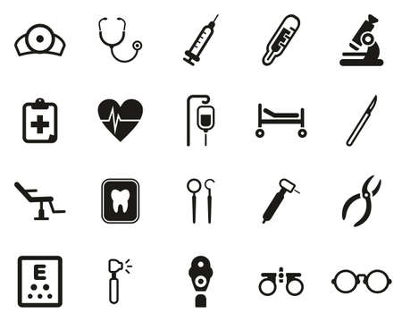 Medical Equipment Icons Black & White Set Big Illusztráció