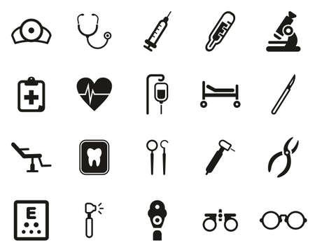 Symbole für medizinische Geräte schwarz-weiß Set groß