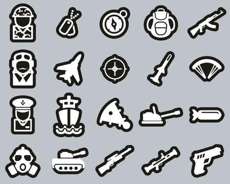 Ikony wojskowe lub armii biały na białym zestaw naklejek Big