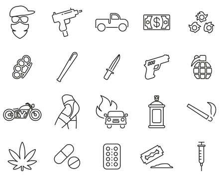 Modern Gangster Icons Black & White Thin Line Set Big