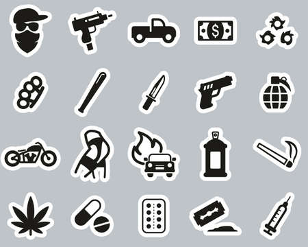 Modern Gangster Icons Black & White Sticker Set Big Vectores