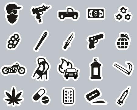 Modern Gangster Icons Black & White Sticker Set Big Illustration