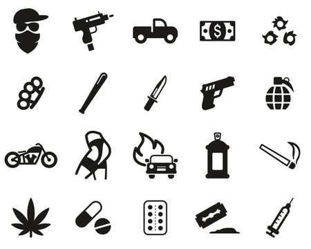 Set di icone moderne di gangster in bianco e nero grandi