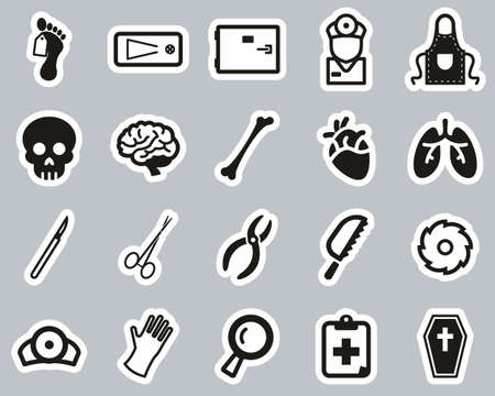 Morgue Or Coroner Equipment Icons Black & White Sticker Set Big Stock Illustratie
