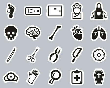 Morgue Or Coroner Equipment Icons Black & White Sticker Set Big Illustration