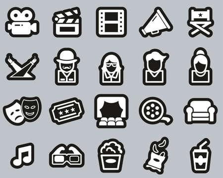 Movie Or Movie Industry Icons White On Black Sticker Set Big 向量圖像