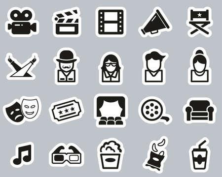 Movie Or Movie Industry Icons Black & White Sticker Set Big