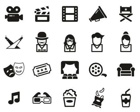 Movie Or Movie Industry Icons Black & White Set Big