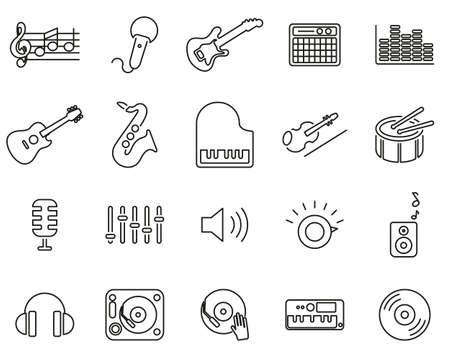 Music Or Music Studio Equipment Icons Black & White Thin Line Set Big Banque d'images - 138785655