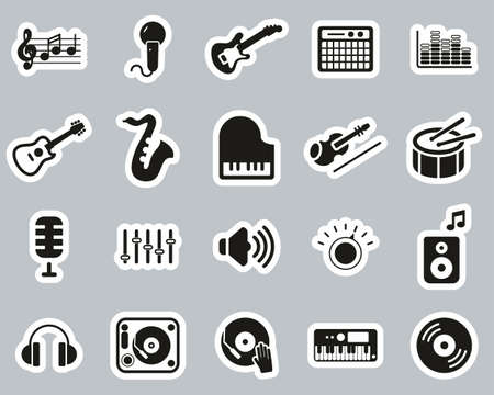 Music Or Music Studio Equipment Icons Black & White Sticker Set Big Banque d'images - 138785652