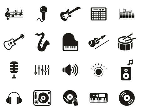 Music Or Music Studio Equipment Icons Black & White Set Big Banque d'images - 138785648