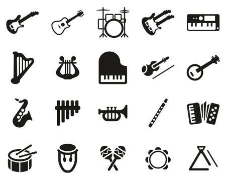 Conjunto de iconos de instrumentos musicales blanco y negro grande