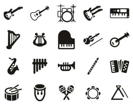 Musical Instruments Icons Black & White Set Big Vettoriali