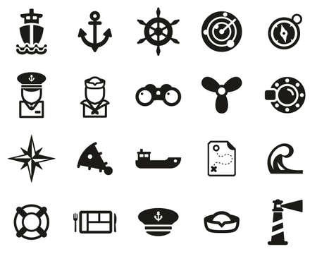 Nautical Vessel & Equipment Icons Black & White Set Big Vettoriali