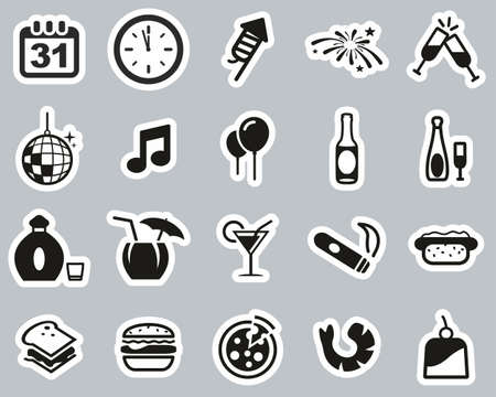 New Years Eve Or New Years Party Icons Black & White Sticker Set Big Vettoriali