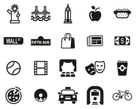 New York City & Culture Icons Set Noir & Blanc Grand