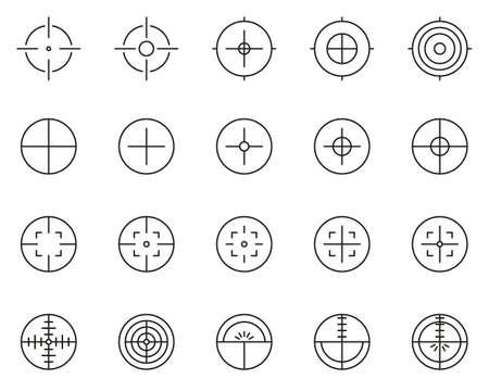 Crosshair or Sight Icons Black & White Thin Line Set Big