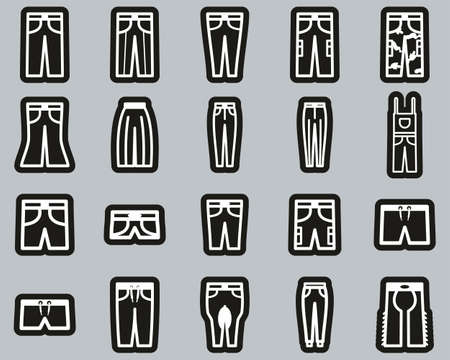 Pants Long & Short Icons White On Black Sticker Set Big Illustration