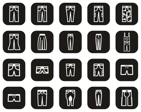 Pants Long & Short Icons White On Black Flat Design Set Big