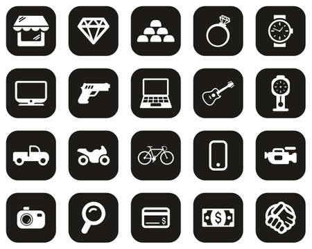 Pawn Shop Or Thrift Store Icons White On Black Flat Design Set Big Illustration