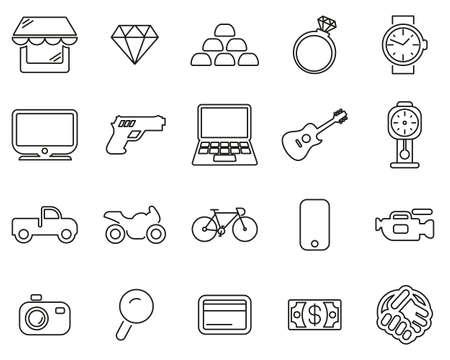 Pawn Shop Or Thrift Store Icons Black & White Thin Line Set Big