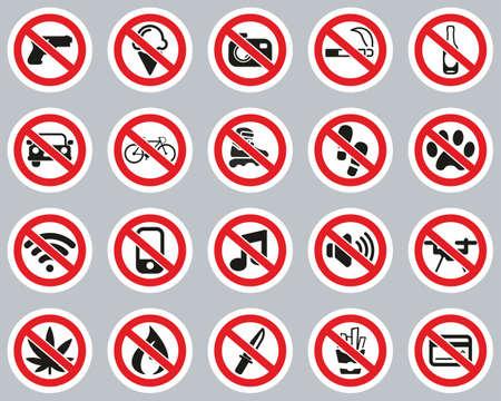 No Sign Or Forbidden Sign Icons Color Sticker Set Big